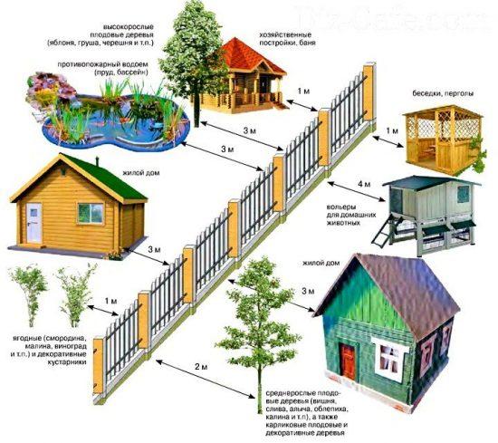 Строительные нормы, расстояние от забора до других объектов.