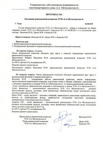 Протокол заседания ревизионной комиссии образец
